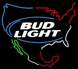 "Wholesale Bud Light Commercials - Bud Light USA Map Neon Sign Custom Handmade Real Glass Tube Store Beer Bar Transport Commercial Advertising Display Neon Signs 19""x15"""