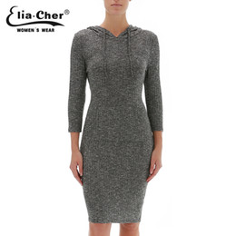 Wholesale Dress Sweater Size Xs - Wholesale-Plus Size Casual Women Clothing Grey Long Hodded Sweater Dress Women Pullovers Autumn Tops 2016 Chic Lady Top Eliacher 8541