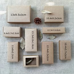 Wholesale Wholesale Handmade Papers - 50PCS Natural Kraft Brown Box Carton Caixa Wedding Favors and Gift Boxes for Guest Small Soap Packing Box Jewelry Box Package