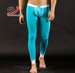 Wholesale Colorful Thermal Underwear - Wholesale-Sexy modal long johns pants colorful WJ brand lucky john pants autumn or winter warm-wear thermal underwear 5 colors #3002CK