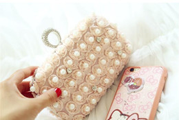 Wholesale Diamond Roses Silk - Handmade White Champagne Women's Lace Rose Flower Rhinestone Pearl Ring clutch bags handbag purse evening bag banquet Bags