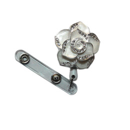 Wholesale Retractable Id Badges - Fashionable Retractable Badge Holder Cute Adorable White Bling Rhinestones Crystal Flower Reels ID Card Clip Holders