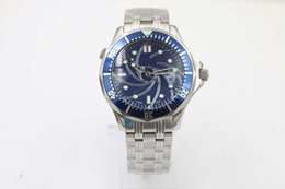 Wholesale Dresses Case - Free delivery Limited Series Brand Automatic Mechanical Dress Wristwatch James Band Blue Dial 007 Full Stainless Steel Band &Case Male Watch