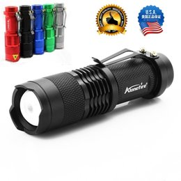 Wholesale Cree Q5 Zoomable - ALONEFIRE SK68 CREE XPE Q5 LED 3 mode Portable Zoomable Mini Flashlight torches Adjustable Focus flash Light Lamp For AA or 14500