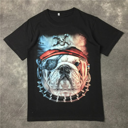 Wholesale T Shirt For Dog Xl - 2016 summer 3D Pirate dog print tshirt for men short sleeve cotton t shirts