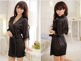 Wholesale Sexy Satin Nightdresses - 5 colors Wedding Party Gifts Sexy Lingerie Satin Sleepwear Silk Detail Robe and G-String Sexy Sleepwear Nightdress Satin Robe
