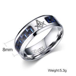 2019 оптовые кольца стерлингового серебра Прохладный мужчины масонские кольца из нержавеющей стали обручальные кольца для мужчин ювелирные изделия с Синий Черный углеродного волокна 8 мм широкий кольца ювелирные изделия