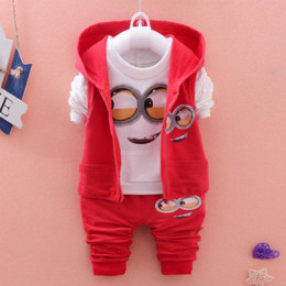 Wholesale Boys 3piece - 2016 yellow 3piece suit for boys clothes despicable me 2 minion children's clothing long-sleeved children Boys girls baby 1-3