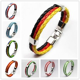 Wholesale Cup Chain Settings Wholesale - 2016 National Flags Bracelets Olympic Games World Cup Fans Braided Rope Charms Bracelets Unisex PU Leather Bracelet Wholesale