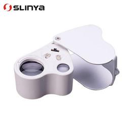 lupe führte linse Rabatt 50pcs / lot Doppelobjektiv 30X 60X Handmini-Taschen-Mikroskop-Lupen-Juwelier-Vergrößerungsglas-LED-Licht fantastisch