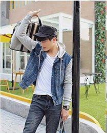 Wholesale Men Hooded Jean Jacket - Fall-Free shipping!2015 New Arrive Autumn men 's jacket denim hooded jacket jean sweatshirt sleeve denim jacket High quality!