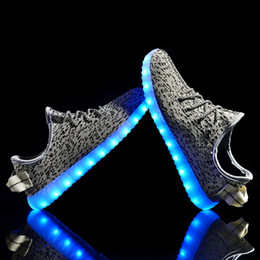 Wholesale Wholesale Led Shoes - Led Light Up Shoes Luminous Sneakers USB Cable Charging Unisex Women Men New Night Lighting Shoes Casual Shoes Cool Sneakers HH-S04
