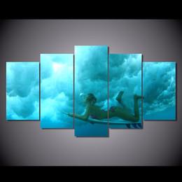 2019 китайские картины для девочек 5 шт./компл. HD печатных скейтборд серфинг девушка живопись на холсте украшения комнаты печати плакат картина холст китайские картины маслом дешево китайские картины для девочек