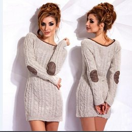 Wholesale Thick Long Sleeve Sweater Dress - Autumn Elegant New Knitted Women Sweaters Scoop Neck Long Sleeve Gentiana Stitch Knitting Short Dresses For Lady S--L Free Shipping