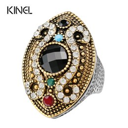 Wholesale Horse Horns - Wholesale- 2015 Fashion Colour Makeup Vintage Ring For Women Silver Plated Mosaic Crystal Horse Eye Turkish Jewelry