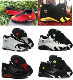 Wholesale Fusions Sneakers - High quality air retro 14 Fusion Varsity Red Suede Thunder Black XIV Playoffs men basketball shoes 14s cheap sports sneakers US size 8-13
