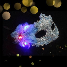 Wholesale Colorful Mask For Party - Colorful Party Mask Princess Luminous Mask Half Face Mask Halloween Masquerade Mask Female LED Lace Mask Adult Children's Cosplay LED Masks