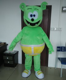 Wholesale Gummy Bear Mascot - 0524 high quality adult smart gummy green bear mascot costume with mini fan inside the head for sale
