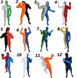 Wholesale Lycra Jumpsuit Costume - full bodysuit zentai multicolor lycra spandex color matching tights unisex jumpsuits free shipping
