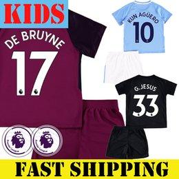 Wholesale Short Jesus - Man City Kids Set 2017 2018 Football Jersey With Short KUN AGUERO KEVIN DE BRUYNE SANE GABRIEL JESUS Junior Youth Soccer Shirt Kit Away Red