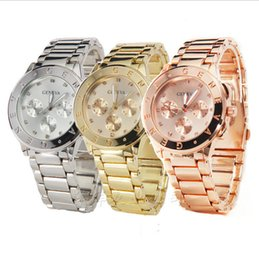 Wholesale Color Glass Diamond - 2016 High-quality genvea Watches automatic Quartz stainless steel Watch Luxury diamond Calendar Wristwatch with for women Rose Gold Color