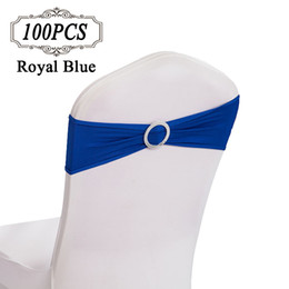Wholesale Spandex Chair Cover Buckles - Free Shipping 100pc lot Chair Sash Bands Spandex Wedding Chair Cover Sashes Band with Plastic Buckle for Wedding Party decoration