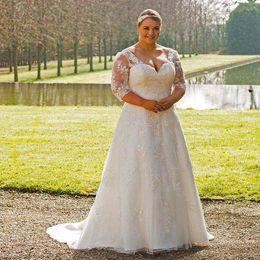Wholesale Corset Closure Dress - 2016 Dynast Lace organza dress with 3 4 length lace sleeves corset closure at back V-neck A-line Bridal Gown