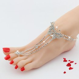 Wholesale Foreign Bride - European Foreign Trade Heat Pin Ornaments Exceed Diamonds Butterfly Sandy Beach Rhinestone Bride Wedding Anklet Accessories Green toe rings