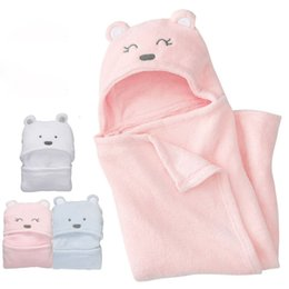 Wholesale Character Sleeping Bags - Baby Sleeping Bags Newborn Infant Wrap New Cartoon Bear Cotton Coral Fleece Baby Blanke Kids Clothing Baby Clothes Children Clothing XY111