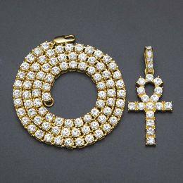 2019 colliers hip hop femmes Égyptien Ankh clé colliers Mens Bling plaqué or chaîne strass cristal Croix glacé sur pendentif pour les femmes rappeur hip hop bijoux colliers hip hop femmes pas cher