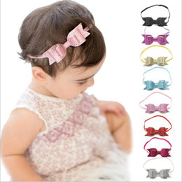Wholesale Infant Princess Accessories - New Baby Girls Bow Glitter Headbands Children Elastic Shining Bowknot Hairbands Kids Infants Hair Accessories Princess Headdress KHA399