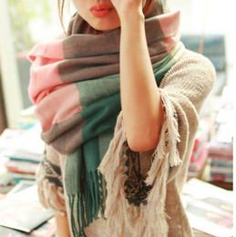 Wholesale Womens Long Winter Scarf - 2016 Womens Scarf Long Fashion Casual Warm Cashmere Shawl Plaid Infinity Scarf Knitted Scarf Women Winter Scarves 15 colors