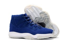 Wholesale Pu Golf Balls - 2017 New Arrival Retro XI Mens Basketball Shoes Navy Blue Suede Re2pect Men's Retro 11 Basket Ball High Tops Sneakers Respect