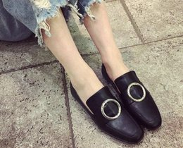 Wholesale Ballerina Shoes Girl - it girl choices! u643 40 genuine leather circle buckle loafer flats casual shoes ballerinas black white ce designer women