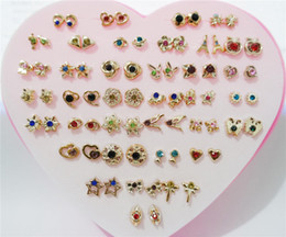 Wholesale Cheap Girls Studs - 36pairs lot Mix Colors & Styles Metal Rhinestone Small Stud Earrings For Women Children Girls Cheap Jewelry