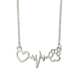 Wholesale Gold Heart Shaped Pendant Necklace - Gold-Color Silver Color Link Chain Heart Electrocardiogram Cat Claw Shape Chain Necklace For Women Accessories