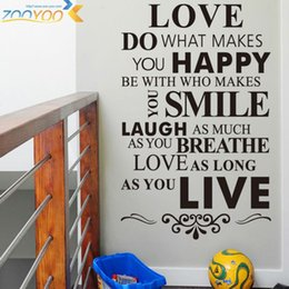 Wholesale Wall Quote Life - Happy life quotes Home Rules wall decorative stickers family wall decal vinyl wall art decals poster