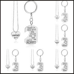 Wholesale Key Ring Links - 2016 there is this girl she stole my love heart pendant necklace key rings engraving family member women girls jewelry gift 161282