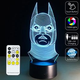 Wholesale Mushroom Retail - 2016 Batman Lamp 3D Optical Lamp Night Light 7 RGB Lights Dimmable DC 5V AA Battery IR Remote Control Retail Box