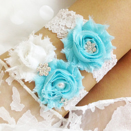 Wholesale Vintage Lace Bridal Garters - Wholesale-Free Shipping 2pcs set Aqua Blue Garter Rhinestone Wedding Garter Set Vintage Bridal Lace Garter