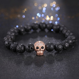 Wholesale turquoise skull beads wholesale - 2016 Fashion Silver Gold Color Micro Pave Zircon Skull Charm Men 'S Bangles Hand Pendant Brand Lava Stone Beads Bracelet Jewelry