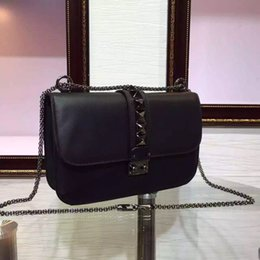 Wholesale Bags Chains Studs - 2017 luxury brand handbag high-end women shoulder bag genuine leather rivets shoulder bags stud crossbody chain bags