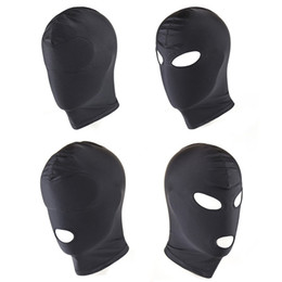 Wholesale Mask Sex Parties - Four Style Elastic Black Spandex Sex Mask Open Eyes Mouth Fetish Bondage Mask Party Erotic Toys Adult Games Sex Toys for Couples 17901