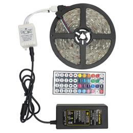 Wholesale Diodes Kit - SMD 5050 LED Strip Light Kits 5M 30led m DC 12V Flexible Ribbon Diode Tape RGB Light + 24 44 Key Controller+12V 3A