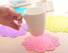 2019 gummi-topfhalter Gummi Rose Cup Coaster Cup Mat 3 Größe porta copos Kissenhalter Drink Tasse Tischset Kaffeepad Untertasse Pot mat günstig gummi-topfhalter
