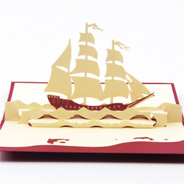 "Wholesale Wholesale Sail Boats - Have a Nice Trip The Creative ""Sailing Boat"" Handmade Kirigami & Origami 3D Pop UP Greeting Cards hot wholesale"