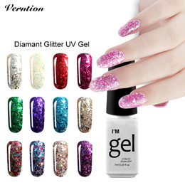 Wholesale soak off gel glitter - Wholesale- Verntion Soak Off Gel Lacquer Hot Sale vernis semi permanent 3d Diamond lucky Color Gold Glitter UV Led Nail Gel Polish