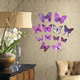Wholesale Order Live Butterflies - 12PCs bag 3D Butterfly Wall Stickers Home Decor Living Kids Bed Room Decor Art papel de parede ,3d stickers E5M1 order<$18no track