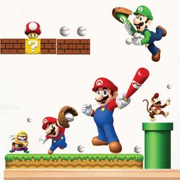 Wholesale Childrens Bedroom Decals - PVC Super Mario Bros Wall Sticker Home Decor for Kids Rooms Childrens Decals Stickers Games Free Mario