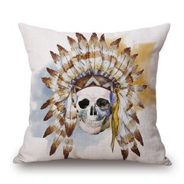 Wholesale Skull Throw - custom cushion cover wholesale skull sofa chaise throw pillow case cotton linen almofada watercolor cojines 45cm